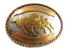 Vintage Cowboy Oeste Caballo Toro Dogging Plata Alemana Hebilla de Cinturón