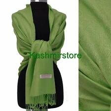 New Pashmina Paisley Floral Silk Wool Scarf Wrap Shawl Soft Fruit green #01