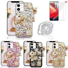 for iPhone 6 7 8+ XS 11 12 Pro Max/SE/XR case,Bling Case & Screen Protect &Strap