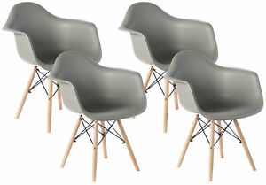 New Mid-Century Modern Style Plastic DAW Shell Dining Arm Chair with Wooden Legs