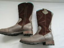Ladies pre owned Ecco brown suede leather cowboy style zipped boots size EUR 34