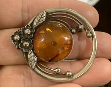 Silver Plate Floral Brooch Pretty Vintage Amber &