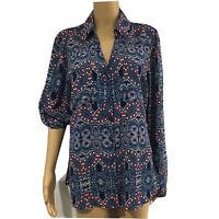 Women's EXPRESS the portofino shirt roll tab Sleeve Sz L button down multicolor