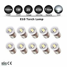 10pcs 1 LED Bulb DC3V Volt White MES E10 5730 Screw for Torch bike bicycle Lamps