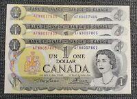 1973 Canada Lawson Bouey BC-46a-i $1.00 Banknote Lot 3 Consecutive AFN
