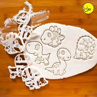 SET of 4 Baby Dinosaur cookie cutters | jurassic kids party t rex biscuit cutter