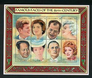 Gambia Scott #1805 MNH SHEET of 8 Famous People Kennedy Mao Monroe CV$9+ TH-1