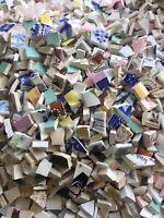"Selection of small pcs broken china mixed colours/ patterns  ~ ""minies""  100pcs"