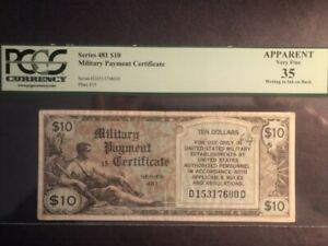 1 MILITARY PAYMENT CERTIFICATE SERIES 481 $10 APPARENT VERY FINE 35
