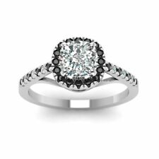 1ct Cushion Diamond Black Accent Solitaire Engagement Ring 14k White Gold Over