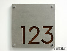 Modern House Numbers, Square Concrete with Wood -  Sign Plaque - Door Number