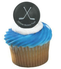 Hockey Puck cupcake rings (24) party favor cake topper