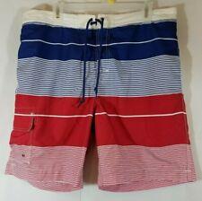 CHAPS Swim Trunks Board Shorts Swimwear Men's White/Blue/Red Striped XL