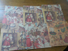 VINTAGE CHRISTMAS WRAPPING PAPER EVERGREEN PRESS 7 SHEETS FREE SHIPPING