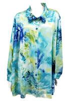 NWOT Susan Graver Blouse 3X Aqua Blue Green Long Sleeve Button Down Floral