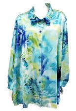 NWOT Susan Graver Blouse 2X Aqua Blue Green Long Sleeve Button Down Floral