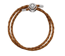 PERSONA Tan Double Wrap Braided Leather Charm Bracelet Sterling H11766B1-06