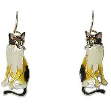Zarah Zarlite Snowshoe Siamese Cat Pierced Earrings Enamel Sterling Silver Plate