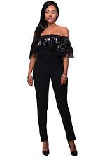Black sequin ruffle top Jumpsuit Club wear Playsuit Fancy Dress Size S M L