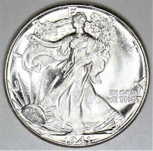 1941 Walking Liberty Half Dollar; Choice BU+; Frosty White!