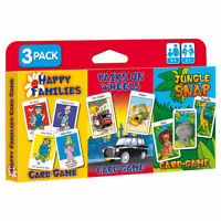 Children's Card Games Jungle Snap, Pairs on Wheels & Happy Families (3 Pack)