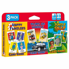 Children's Card 3 Games Pack Jungle Snap Pairs on Wheels and Happy Families