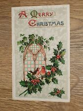 A MERRY CHRISTMAS  ROBIN BIRDS HOLLY   EMBOSSED POSTCARD  VINTAGE  UNPOSTED VGC