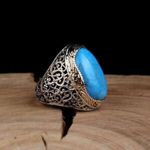 Handmade 925 SILVER rings Turquoise Firuze stone Men sizes wedding 30g RRP £70