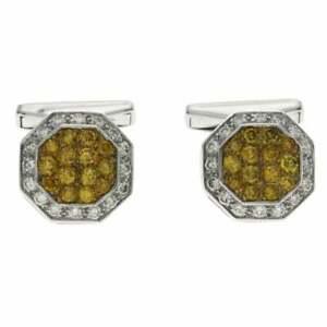 1.25 Ct Yellow Citrine & 0.45 Ct White Zircon In 10k White Gold Men's Cufflinks