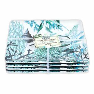 "Set / 4 Michel Design Works Melamine 6"" Canape Plates Ocean Tide Sea Life Blue"