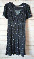 Diana Ferrari Dress Size 12 Medium Black Blue Floral Shift