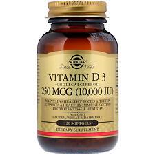 Solgar, Vitamin D3 (Cholecalciferol), 250 mcg, 10,000 IU 120 Softgels 10000
