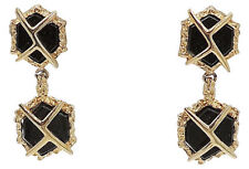 Vintage 1960s Signed Panetta Modernist Faux-Onyx Rhinestone Drop Earrings