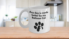 Balinese Cat Mug Coffee Tea Paw Print Cat Lover Furbaby Cat Lover Mom Dad