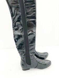 New Ladies Krush Black Patent Knee Boot UK Sizes 4, 6