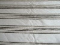ROLL END,1.8 METRES OF TEXTURED CREAM & BROWN CHENILLE STRIPE UPHOLSTERY FABRIC