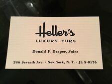 MAD MEN TV Drama Original Movie Prop DON DRAPER Business Card HELLER'S FURS