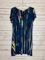 Umgee USA Boutique Women's S Small Blue Tie Dye Short Sleeve Cute Summer Dress