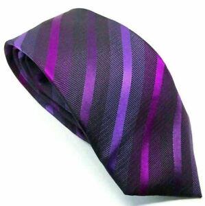 """Jeff Banks Men's Tie Purple Striped 100% Silk 3"""" Width 59"""" Length"""