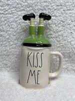 New Rae Dunn St. Patrick's Day KISS ME Mug With Leprechaun Legs Topper