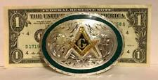 Beautiful Free Masonic Masons Belt Buckle Silver Plated w Gold