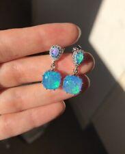 New Arrival Stunning Blue Fire Opal 925 Silver Stud Earrings