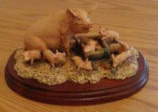 Ray Ayres 1985 Mr. Worley's Queenie Sow and piglets Wooden attached Base