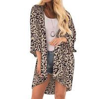 Women Leopard Print Cover Casual Blouse Tops  Kimono Bikini Cardigan Capes Cover