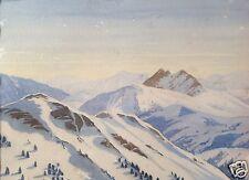 Impressionismus Aquarell Gemälde Schnee Alpen Berggipfel Bayern Hans Hirt 1954
