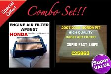 For HONDA FIT 07 08 High Quality Engine & Cabin Air Filter 5657 25863 PerfectFit