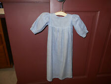 VINTAGE DOLL OR INFANT BLUE AND WHITE TINY CHECKED DRESS ( SO SWEET )