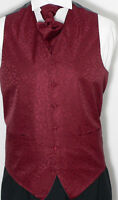 Swirl Mens/ & Boys' Wedding Waistcoat & Cravat Set - Burgundy