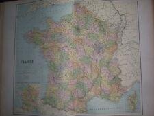 FRANCE CARTE ATLAS 19éme COULEUR WILLIAM HUGHES 1886 ROTHSCHILD ED