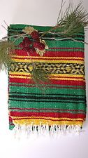 Traditional Mexican Falsa Blanket Rasta Green,Red & yellow XL w/Aztec Lines